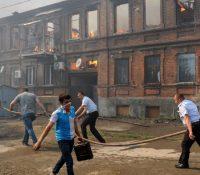 В центрі міста Ростоку на Доні взникнув великый нічівый пожар