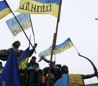 В Києві в перебігу демонштрації было поранено штырнадцить поліцайтів