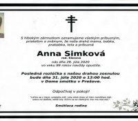 Умерла Анна Симкова, бывша членка драматічного колектіву ДАД в Пряшові